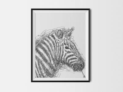 Zebra creative sketchbook unique illustration art abstract