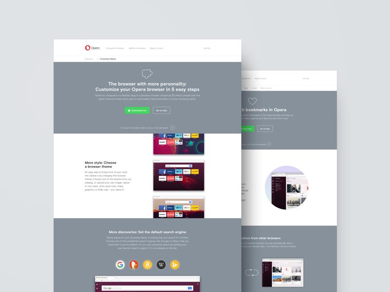 Opera Customisation Page by Andrius Grabauskas | Dribbble