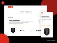 Product ordering page