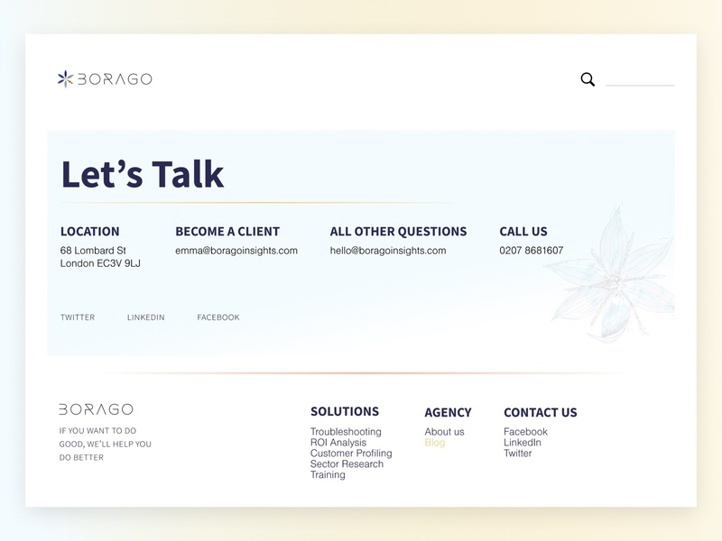 Contact page Borago Insights charity uxdesign ux contact page