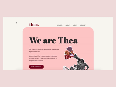 Creative collective website • Thea illustration about page ux design brand strategy copywriting homepage portfolio pink branding uxdesign