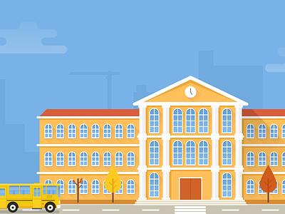 School illustration flat autumn bus school