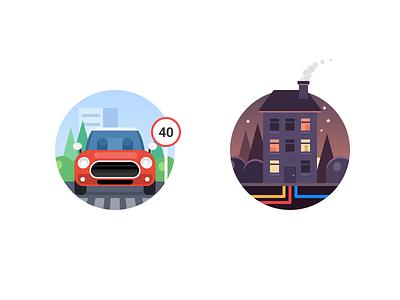 Widget illustrations illustration flat house car icons