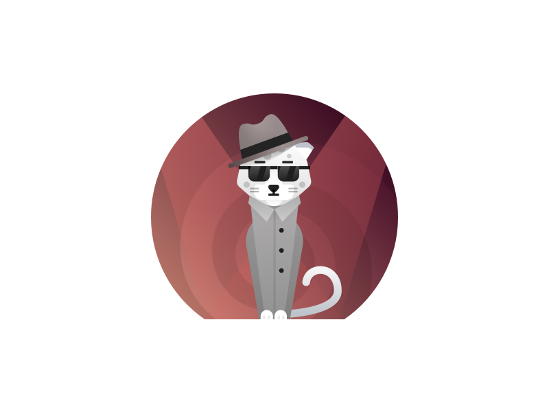 Secret agent cat agent gradient flat 60s bank illustration leopard spy