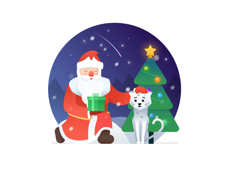 New Year Illustration snow leopard illustration flat christmas tree ded moroz snow santa claus christmas new year