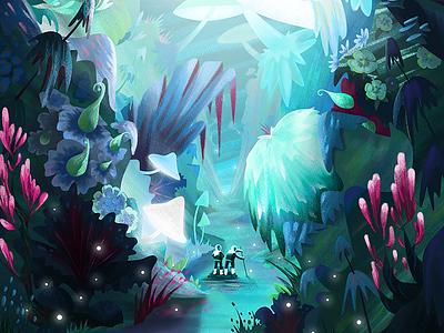 Summernight Festival - Poster Illustration process kylebrushes texture jungle planet astronaut expedition digital illustration festival summer poster explore adventure photoshop illustration