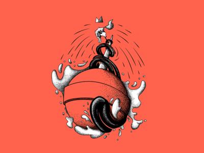 Polarfux Wundertüte Illustration package design ink illustration inked animal photoshop bouncy ball sticker tattoo design grab bag black pen pen dots polarfux tongue lollipop lolly fox analogue illustration illustration