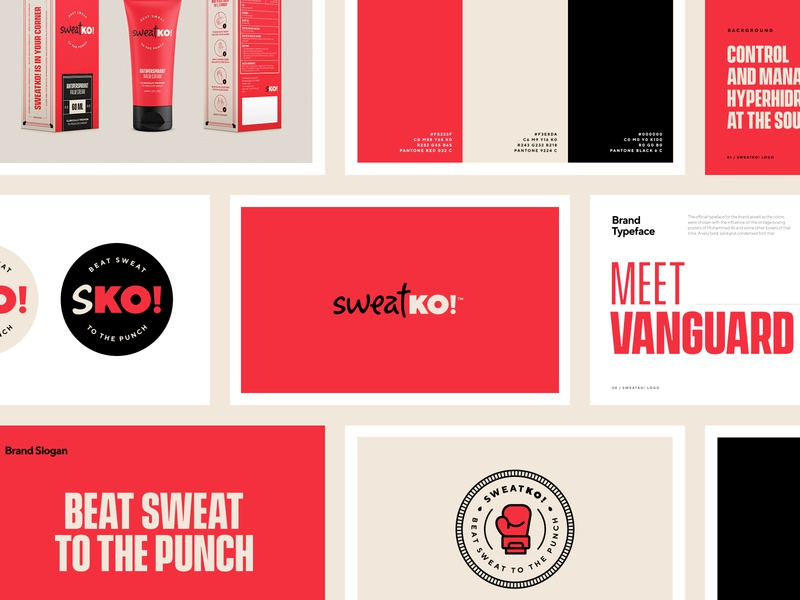 sweatKO! Deck ko boxing cream red sweat typography brand packaging logo branding design