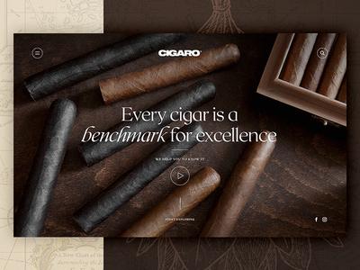 CIGARO Landing Screen luxury cuba cigar website web ux ui design