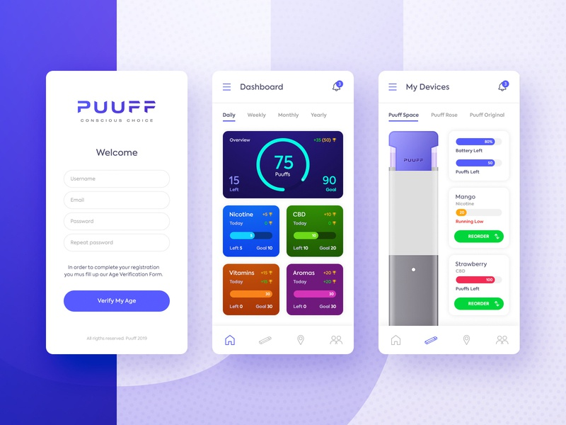 Vape Device App purple vaping vape app ux ui design