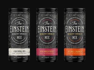Einstein, Healthy Energy Mix Packaging energy drink can typography energy logo packaging branding brand design