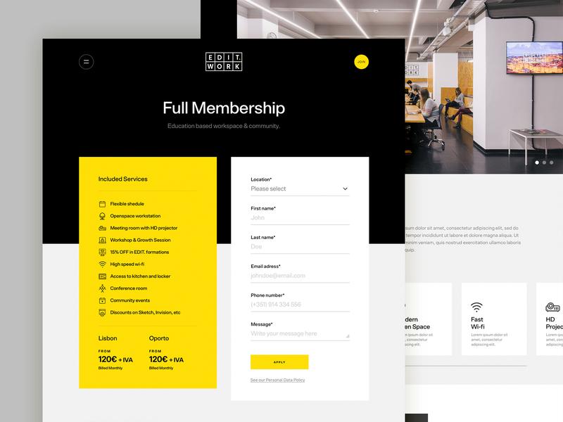 EDIT WORK Membership digital school website ux ui web design