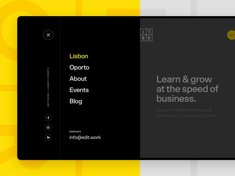 EDIT. WORK Menu Interface digital school website ux ui web design