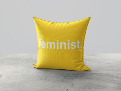 Feminist yellow pillow mockup