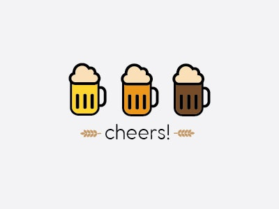 Cheers! old fashion mug dark medium light beer cheers
