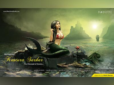 Digital Art - Kastura Sarkar The Mermaid landscape fish sea ocean matte paint art painting digital indian mermaid