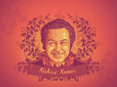 Legends of Bollywood - Kishore Kumar colors illustration vector art indian music bhosle asha mangeshkar lata kishore bollywood