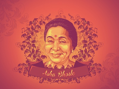 Legends of Bollywood - Asha Bhosle colors illustration vector art indian music bhosle asha mangeshkar lata kishore bollywood
