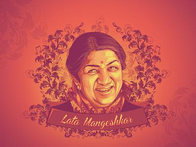 Legends of Bollywood - Lata Mangeshkar colors illustration vector art indian music bhosle asha mangeshkar lata kishore bollywood