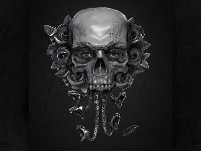 Digital Art - The Dark Side of Beauty black and white snake indian dark art evil dark gothic skull art