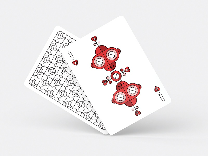 Robot Queen of Hearts fun stuff illustration face card court card playing cards queen cards