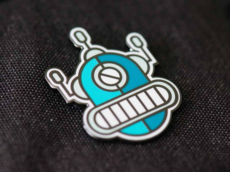 Robot Enamel Pin damico tony playing cards cards playing blue robots robot enamel pin