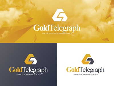 Gold Telegraph design flat branding icon illustration logo