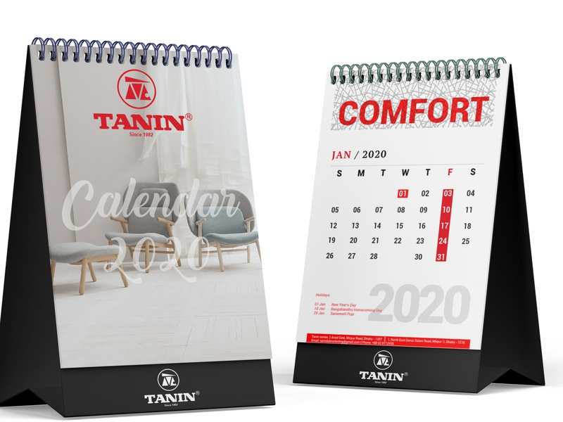 Tanin Desk Calendar 2020 vector logo identity design photoshop illustrator branding furniture design wooden plastics furniture 2020 desk calendar