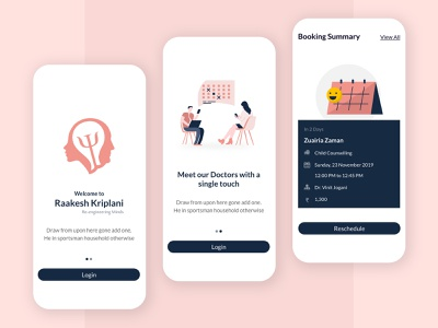 Psychotherapy Appointment Booking App psychotherapy ios android doctor ux ui appointment consultation mobile app flat mobileapp mobile ux design minimal interaction design illustration