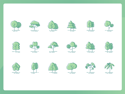 Plant Icon line light and shadow green tree ui design