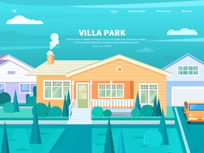 Villa Park car lawn botany house villa illustration ui design