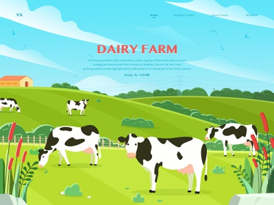 Dairy Farm sunshine milk thick growth of grass woods scenery animal flower a wide field farm cow banner website design illustration design ui