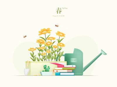 Spring comfortable life gardener honeybee note read petal leaf cactus watering can book 花
