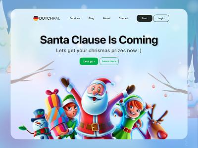 Christmas is coming finance mobile web ui design ux ui illustrator santa claus christmas card christmas party new year happy dutch germany christmas celebration minimal web design