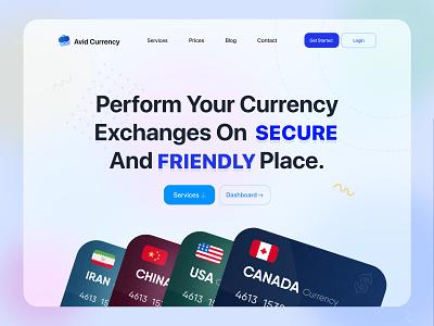 Financial web ui design web app crypto banking currency financial finance card design ui web ui website illustraion blured landing page service vector branding product web design