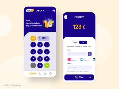 7Pay app UI design money pay payment mobile ux application ui design uiux ui