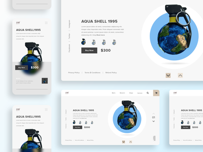 Cool the world - Grenade Launch editing manipulation branding art illustration design creative page website ecommerce product grenade blue uiux world cool mobile landing page web ui
