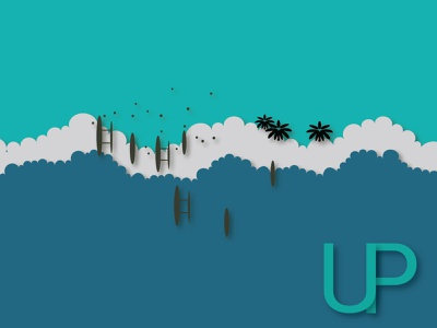 UP vector user interface layers boats beach up art freedom illustration design