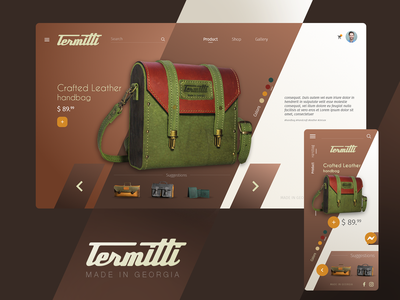 Termitti leather handcraft bags simple web website ux ui design