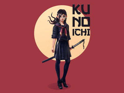 Kunoichi 3d art japanese art illustration character weapon shinobi samurai girl katana ninja