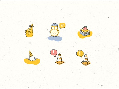 Spot Illustrations for Twine - Alerts, Education, and Oops icons hand cones flat illustration digital illustration spot illustration nostalgia retro illustration