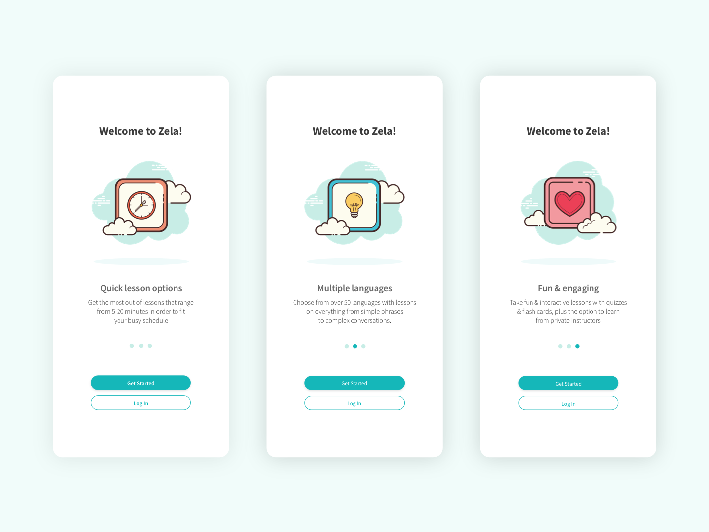 Language Learning App Onboarding by Jessica Adamowicz on