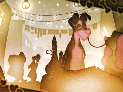 Lady and the Tramp design aftereffects vector illustration 2d