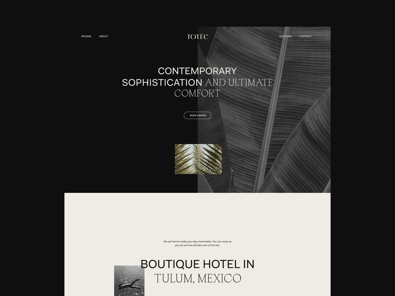 Totec Hotel Web Design layout booking hotel home desktop page landing ui design web design website ux ui interaction design sophisticated contemporary clear minimal web clean