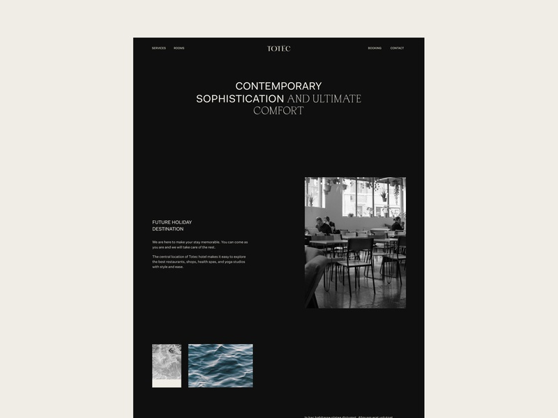 Totec Hotel Web Design outer clean minimal clear design ui website web design ui design landing desktop about page hotel layout