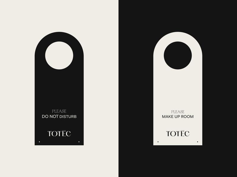 Totec Hotel Door Hanger Design studio logo typography type outer minimal icon identity hotel font design branding