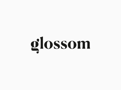 Glossom Logo Design fashion modern serif wordmark word outer type typography letter g mark clean minimal logotype logo identity icon graphic design branding
