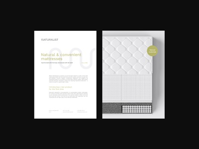 Visual Identity Design for Naturalist Mattresses typography text stationery render paper organic natural minimal mattress logo visual identity graphic design graphic font document design branding blank 3d