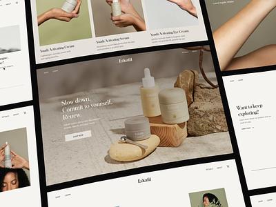 Web Design for Eskafil Skin Care skin minimal outer care face eye cream identity brand presentation effect 3d page landing website ux ui design web