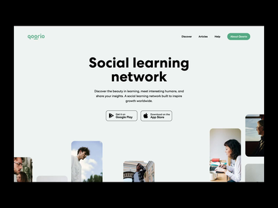 Landing page design for Qoorio interactive graphic by scroll reviews above fold parallax scrolling page landing website app ux ui web interaction outer minimal design